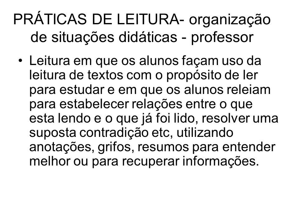 PRÁTICAS DE LEITURA- organização de situações didáticas - professor Leitura em que os alunos façam uso da leitura de textos com o propósito de ler par