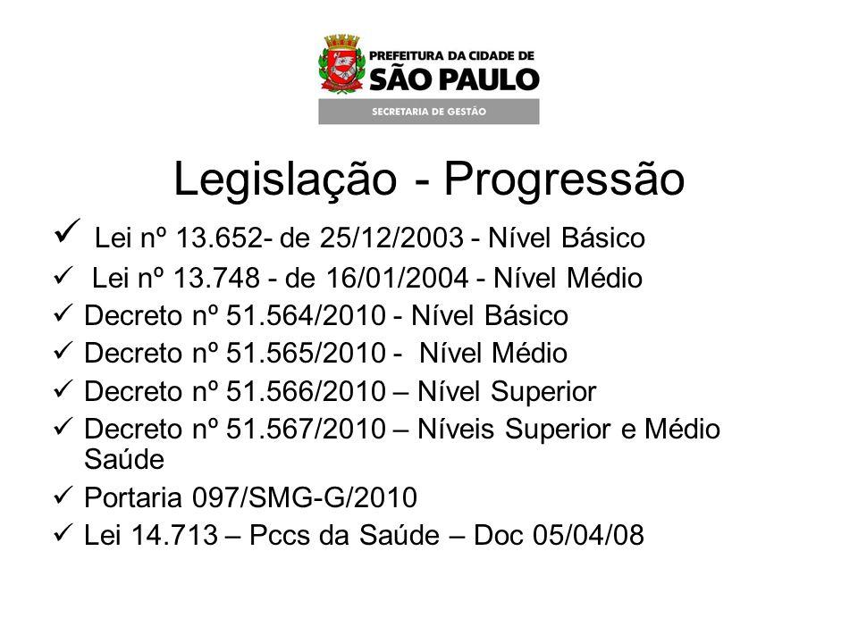 Legislação - Progressão Lei nº 13.652- de 25/12/2003 - Nível Básico Lei nº 13.748 - de 16/01/2004 - Nível Médio Decreto nº 51.564/2010 - Nível Básico