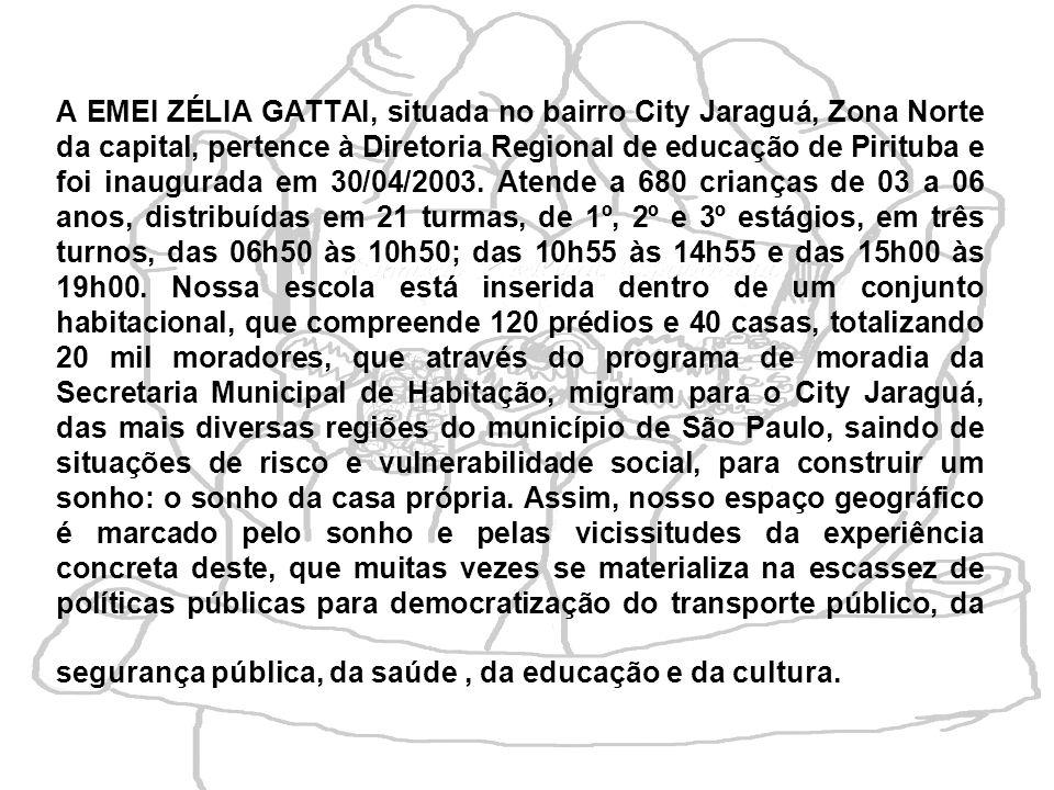 A EMEI ZÉLIA GATTAI, situada no bairro City Jaraguá, Zona Norte da capital, pertence à Diretoria Regional de educação de Pirituba e foi inaugurada em