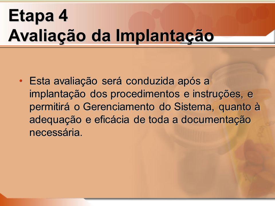 Etapa 4 Avaliação da Implantação Esta avaliação será conduzida após a implantação dos procedimentos e instruções, e permitirá o Gerenciamento do Sistema, quanto à adequação e eficácia de toda a documentação necessária.Esta avaliação será conduzida após a implantação dos procedimentos e instruções, e permitirá o Gerenciamento do Sistema, quanto à adequação e eficácia de toda a documentação necessária.