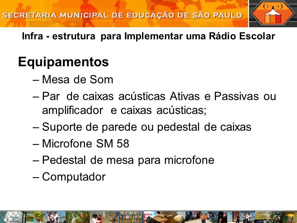 Infra - estrutura para Implementar uma Rádio Escolar Equipamentos –Mesa de Som –Par de caixas acústicas Ativas e Passivas ou amplificador e caixas acú