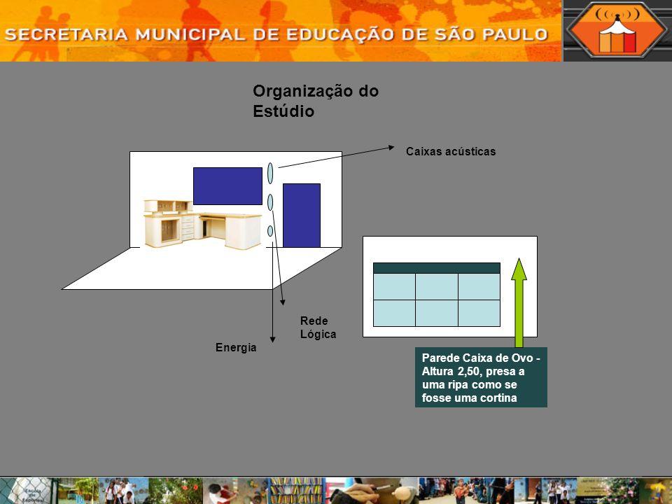 Parede Caixa de Ovo - Altura 2,50, presa a uma ripa como se fosse uma cortina Rede Lógica Energia Organização do Estúdio Caixas acústicas