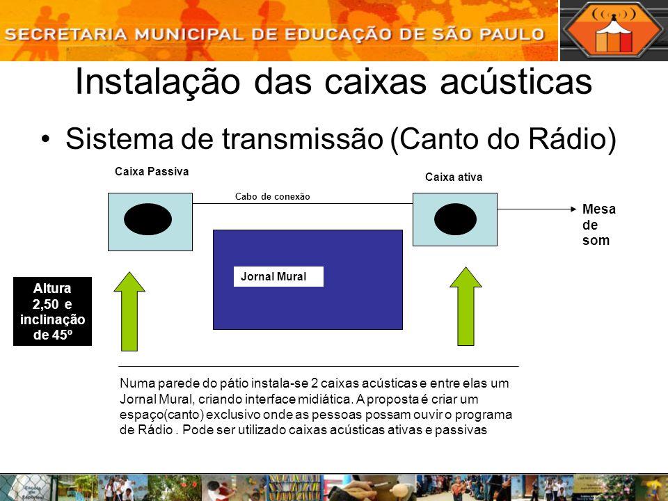 Instalação das caixas acústicas Sistema de transmissão (Canto do Rádio) Numa parede do pátio instala-se 2 caixas acústicas e entre elas um Jornal Mura