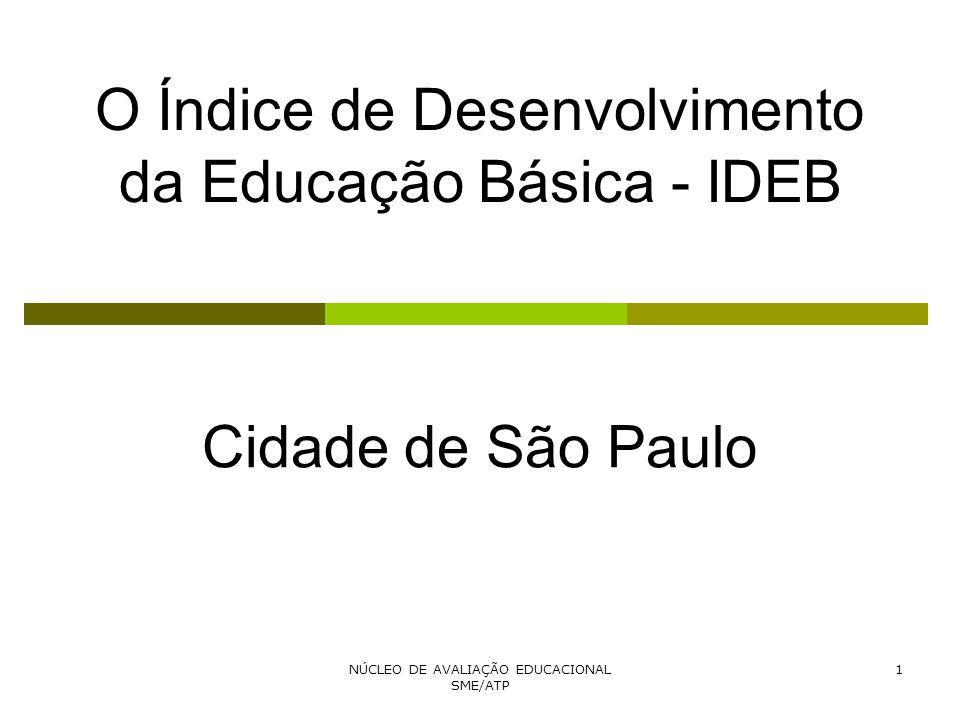 NÚCLEO DE AVALIAÇÃO EDUCACIONAL SME/ATP 1 O Índice de Desenvolvimento da Educação Básica - IDEB Cidade de São Paulo