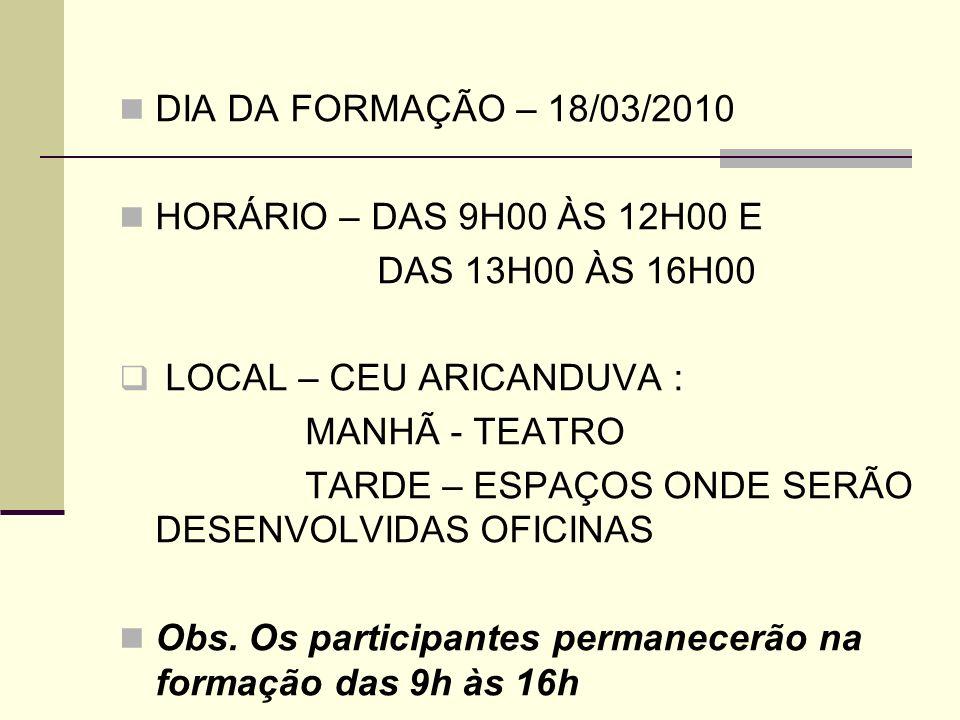 ENCAMINHAMENTO DAS INSCRIÇÕES ENCAMINHAR AS FICHAS CONTENDO AS INSCRIÇÕES DOS PROFESSORES ATÉ O DIA 12/03/2010, PARA O E-MAIL: mcbezerra@prefeitura.sp.gov.br