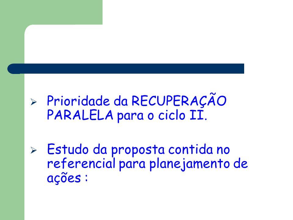 Prioridade da RECUPERAÇÃO PARALELA para o ciclo II. Estudo da proposta contida no referencial para planejamento de ações :