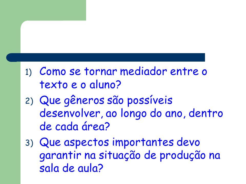 1) Como se tornar mediador entre o texto e o aluno? 2) Que gêneros são possíveis desenvolver, ao longo do ano, dentro de cada área? 3) Que aspectos im