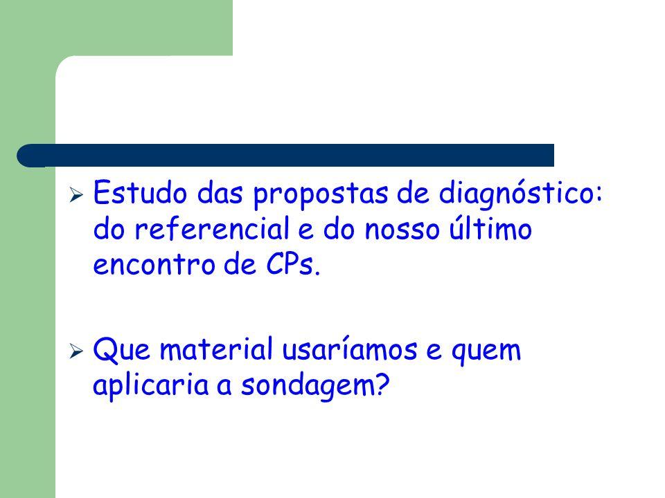 Estudo das propostas de diagnóstico: do referencial e do nosso último encontro de CPs. Que material usaríamos e quem aplicaria a sondagem?