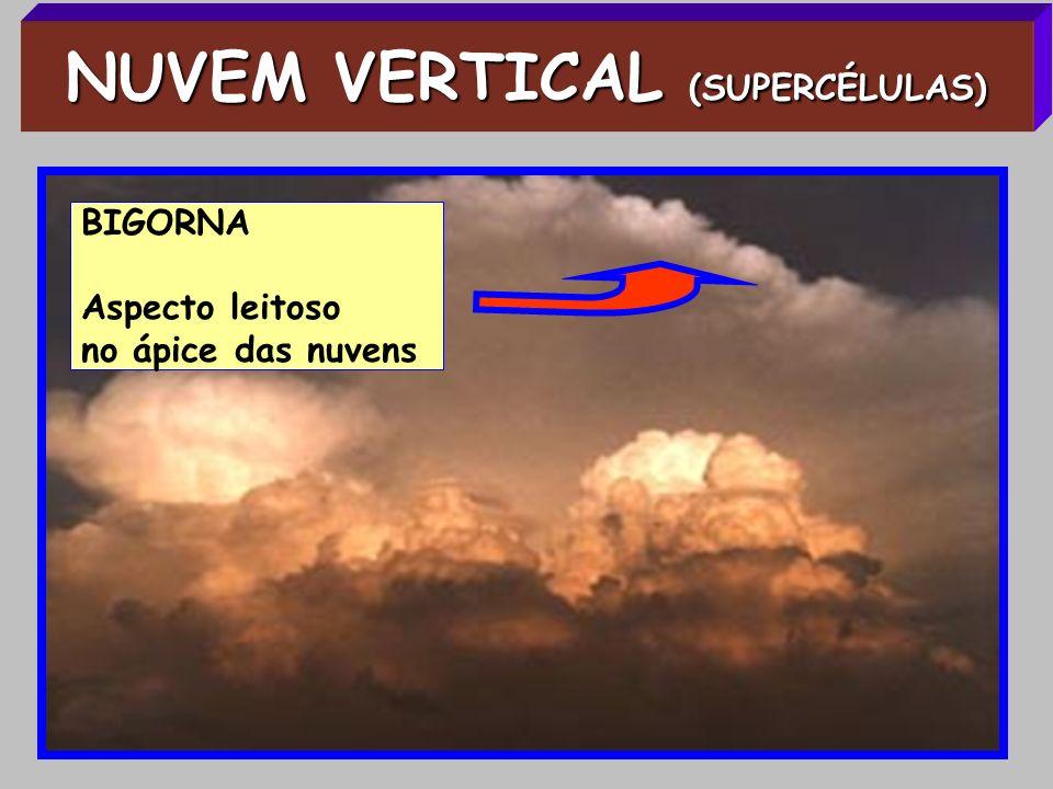 NUVEM VERTICAL (SUPERCÉLULAS) BIGORNA Aspecto leitoso no ápice das nuvens