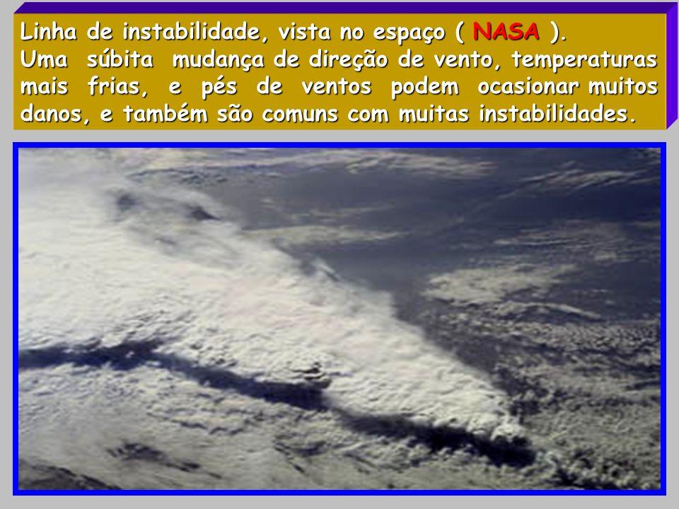 Linha de instabilidade, vista no espaço ( NASA ). Uma súbita mudança de direção de vento, temperaturas mais frias, e pés de ventos podem ocasionar mui