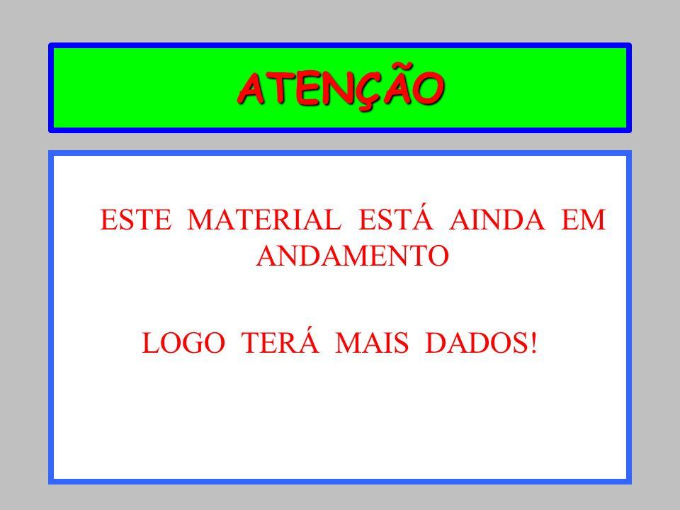 ATENÇÃO ESTE MATERIAL ESTÁ AINDA EM ANDAMENTO LOGO TERÁ MAIS DADOS!