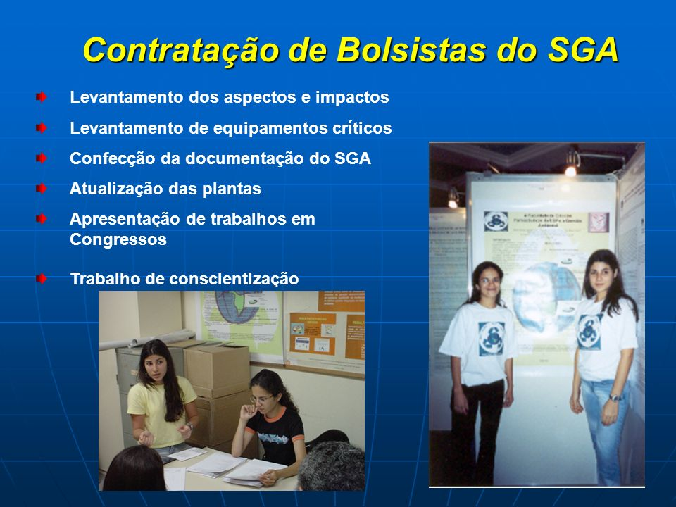 Contratação de Bolsistas do SGA Contratação de Bolsistas do SGA Levantamento dos aspectos e impactos Levantamento de equipamentos críticos Confecção d