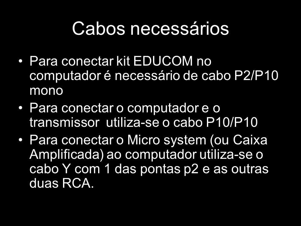 Cabos necessários Para conectar kit EDUCOM no computador é necessário de cabo P2/P10 mono Para conectar o computador e o transmissor utiliza-se o cabo