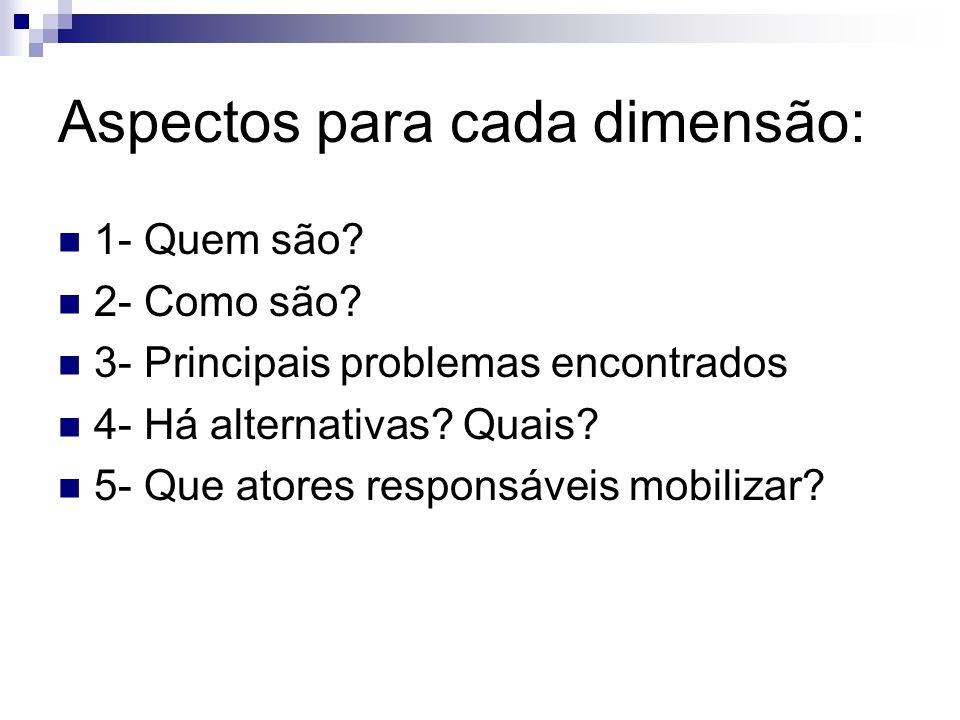Aspectos para cada dimensão: 1- Quem são? 2- Como são? 3- Principais problemas encontrados 4- Há alternativas? Quais? 5- Que atores responsáveis mobil