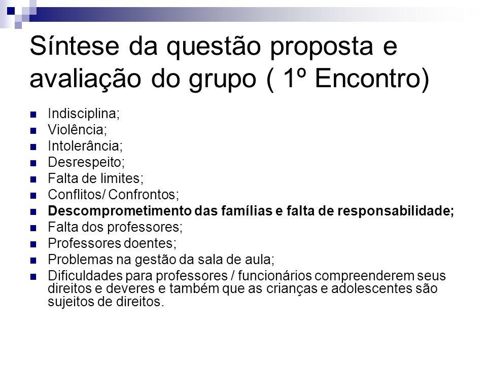 Síntese da questão proposta e avaliação do grupo ( 1º Encontro) Indisciplina; Violência; Intolerância; Desrespeito; Falta de limites; Conflitos/ Confr