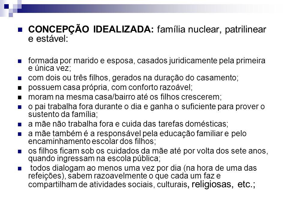 CONCEPÇÃO IDEALIZADA: família nuclear, patrilinear e estável: formada por marido e esposa, casados juridicamente pela primeira e única vez; com dois o