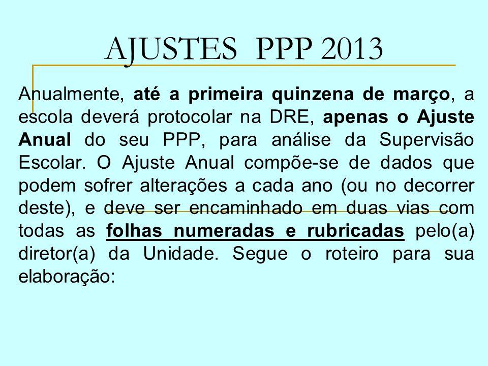 AJUSTES PPP 2013 Anualmente, até a primeira quinzena de março, a escola deverá protocolar na DRE, apenas o Ajuste Anual do seu PPP, para análise da Su