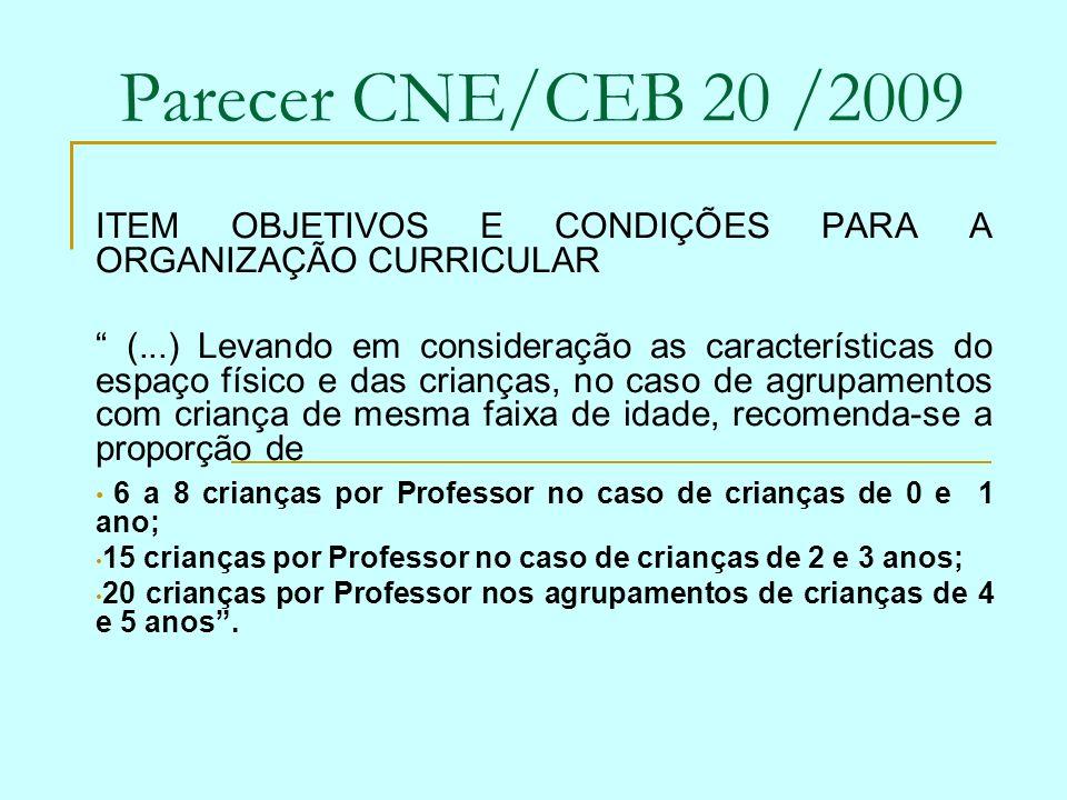 Parecer CNE/CEB 20 /2009 ITEM OBJETIVOS E CONDIÇÕES PARA A ORGANIZAÇÃO CURRICULAR (...) Levando em consideração as características do espaço físico e