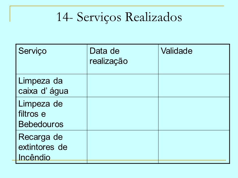 14- Serviços Realizados ServiçoData de realização Validade Limpeza da caixa d água Limpeza de filtros e Bebedouros Recarga de extintores de Incêndio