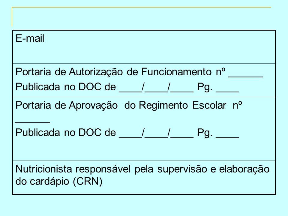 E-mail Portaria de Autorização de Funcionamento nº ______ Publicada no DOC de ____/____/____ Pg. ____ Portaria de Aprovação do Regimento Escolar nº __