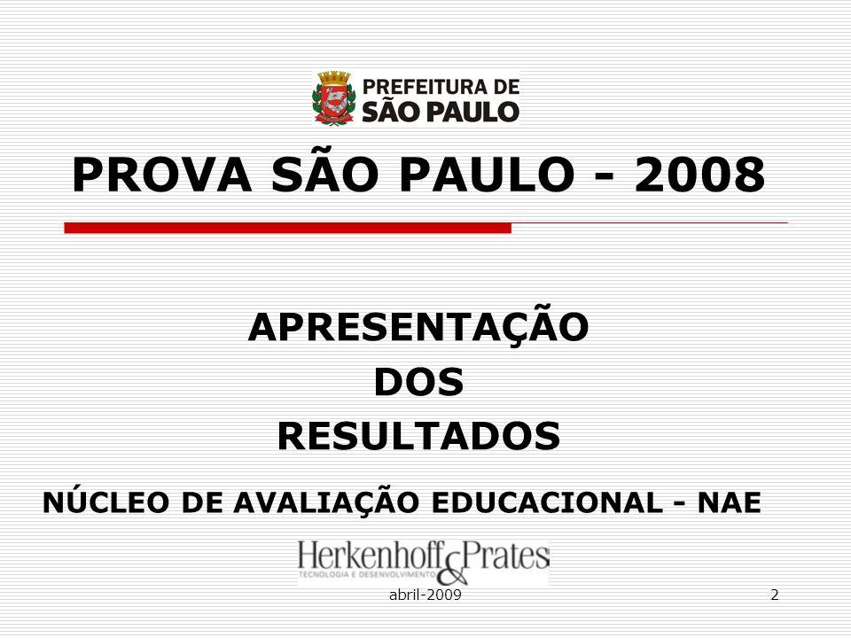 abril-20092 PROVA SÃO PAULO - 2008 APRESENTAÇÃO DOS RESULTADOS NÚCLEO DE AVALIAÇÃO EDUCACIONAL - NAE