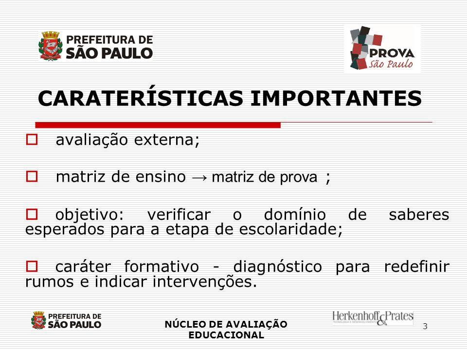 3 CARATERÍSTICAS IMPORTANTES avaliação externa; matriz de ensino matriz de prova ; objetivo: verificar o domínio de saberes esperados para a etapa de