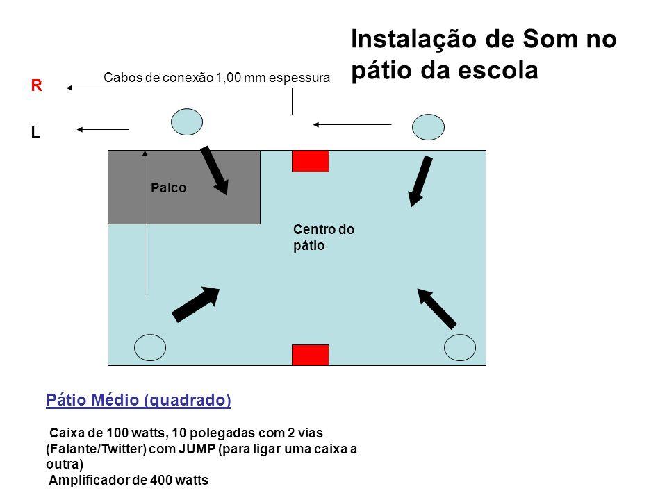 Configuração do equipamento Opção 1 - Pátio Pequeno Caixa de 100 watts, 10 polegadas, 2 vias (Falante/Twitter) com JUMP (saídas para ligar uma caixa a outra) Amplificador de 400 watts Opção 2 - Pátio Pequeno Caixa Ativa e Passiva de 100 watts Palco Instalação de Som no pátio de escola R L Mesa de Som Amplificador