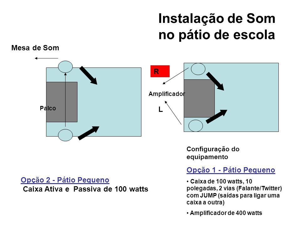 Configuração do equipamento Opção 1 - Pátio Pequeno Caixa de 100 watts, 10 polegadas, 2 vias (Falante/Twitter) com JUMP (para ligar uma caixa a outra) Amplificador de 400 watts Opção 2 - Pátio Pequeno Caixa Ativa e Passiva de 100 watts Palco Instalação de Som no pátio de escola Mesa de Som