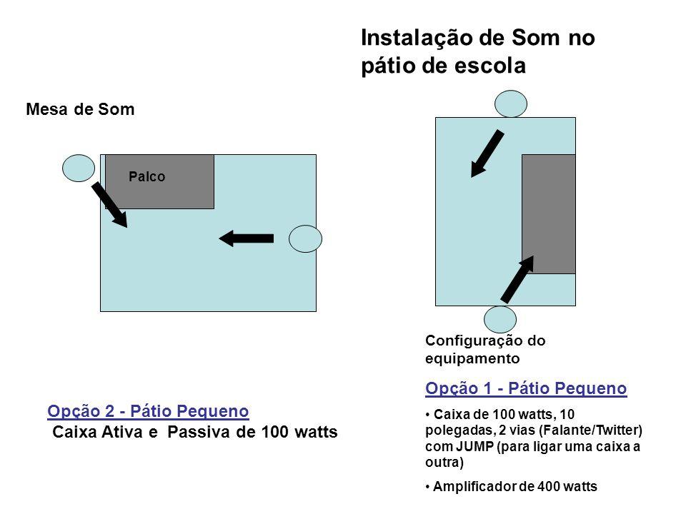 Configuração do equipamento Opção 1 - Pátio Pequeno Caixa de 100 watts, 10 polegadas, 2 vias (Falante/Twitter) com JUMP (para ligar uma caixa a outra)