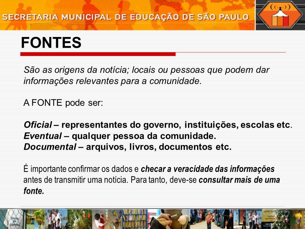 Exemplo de PAUTA O Ministério da Educação liberou verbas que serão repassadas ao município ou diretamente à escola X.