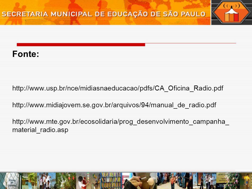 Fonte: http://www.usp.br/nce/midiasnaeducacao/pdfs/CA_Oficina_Radio.pdf http://www.midiajovem.se.gov.br/arquivos/94/manual_de_radio.pdf http://www.mte