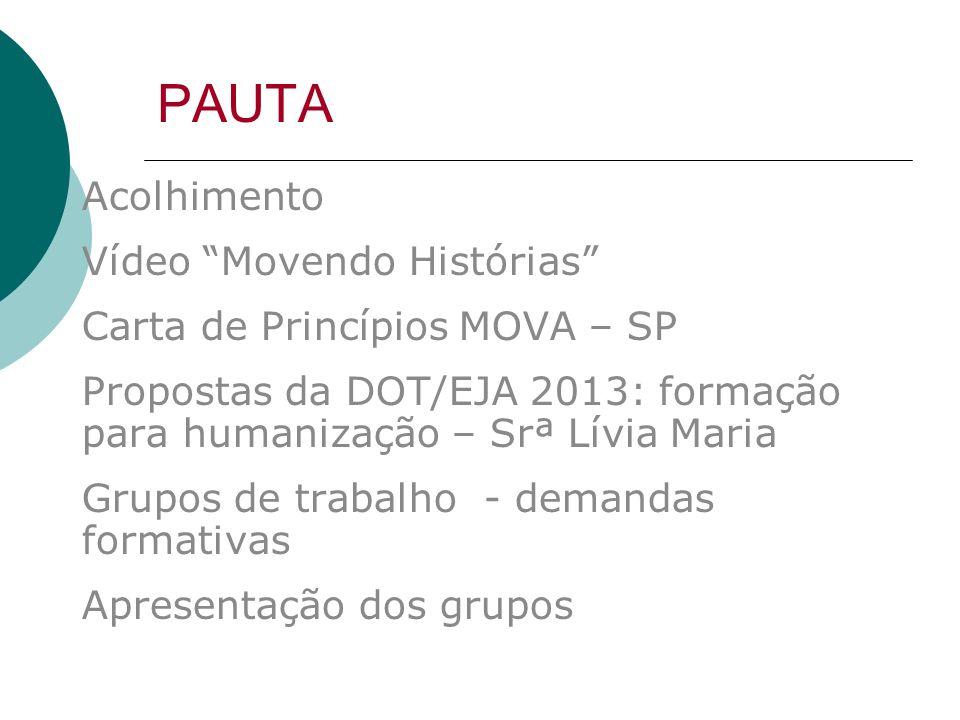 PAUTA Acolhimento Vídeo Movendo Histórias Carta de Princípios MOVA – SP Propostas da DOT/EJA 2013: formação para humanização – Srª Lívia Maria Grupos