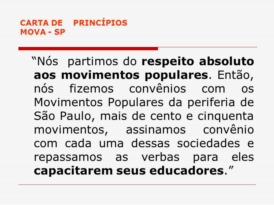 CARTA DE PRINCÍPIOS MOVA - SP Nós partimos do respeito absoluto aos movimentos populares. Então, nós fizemos convênios com os Movimentos Populares da