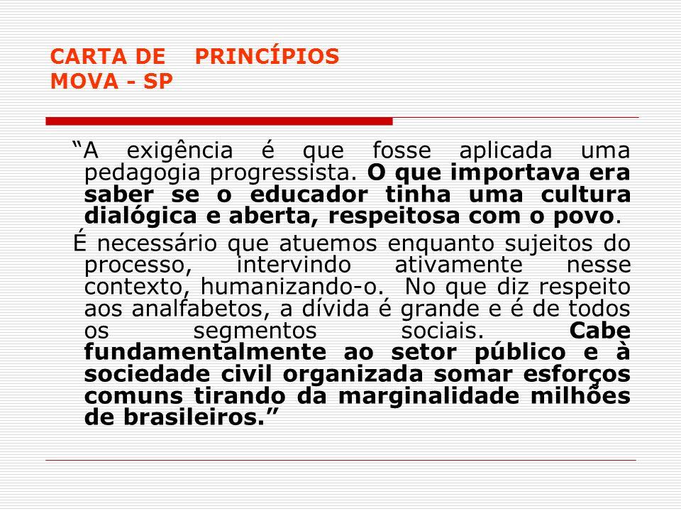CARTA DE PRINCÍPIOS MOVA - SP A exigência é que fosse aplicada uma pedagogia progressista. O que importava era saber se o educador tinha uma cultura d