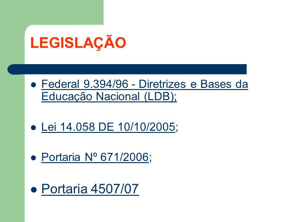 LEGISLAÇÃO Federal 9.394/96 - Diretrizes e Bases da Educação Nacional (LDB); Lei 14.058 DE 10/10/2005; Portaria Nº 671/2006;ortaria Nº 671/2006 Portar