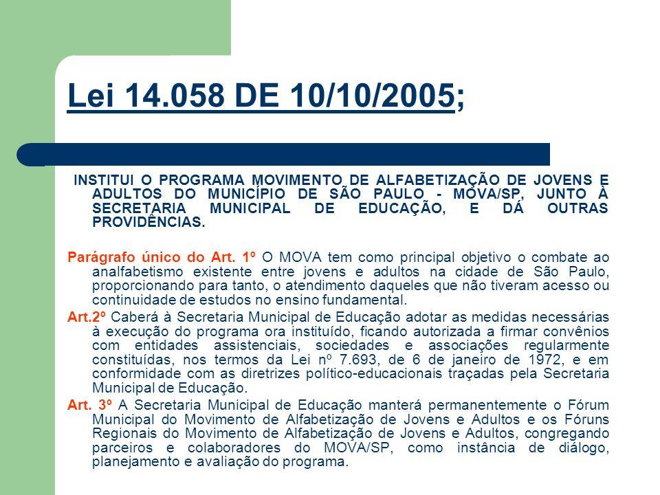 Lei 14.058 DE 10/10/2005; INSTITUI O PROGRAMA MOVIMENTO DE ALFABETIZAÇÃO DE JOVENS E ADULTOS DO MUNICÍPIO DE SÃO PAULO - MOVA/SP, JUNTO À SECRETARIA M