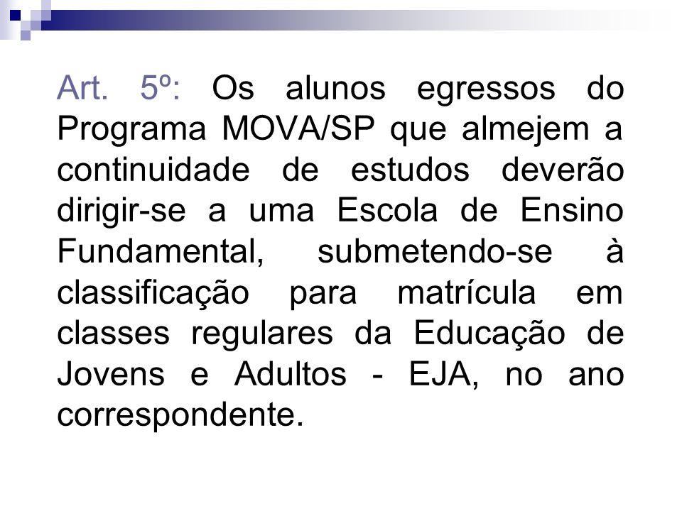 Art. 5º: Os alunos egressos do Programa MOVA/SP que almejem a continuidade de estudos deverão dirigir-se a uma Escola de Ensino Fundamental, submetend