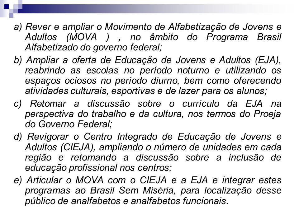 a) Rever e ampliar o Movimento de Alfabetização de Jovens e Adultos (MOVA ), no âmbito do Programa Brasil Alfabetizado do governo federal; b) Ampliar
