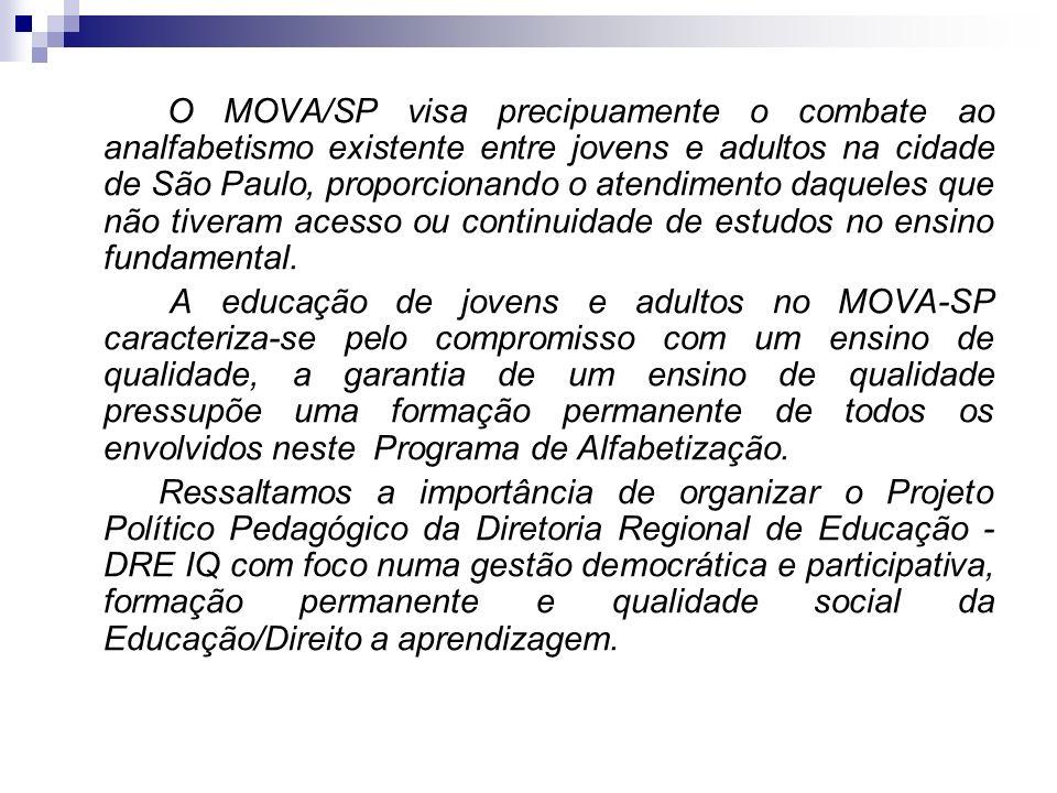 O MOVA/SP visa precipuamente o combate ao analfabetismo existente entre jovens e adultos na cidade de São Paulo, proporcionando o atendimento daqueles