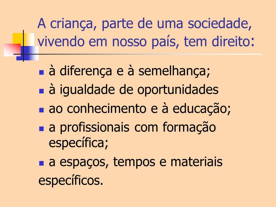 A criança, parte de uma sociedade, vivendo em nosso país, tem direito : à diferença e à semelhança; à igualdade de oportunidades ao conhecimento e à e