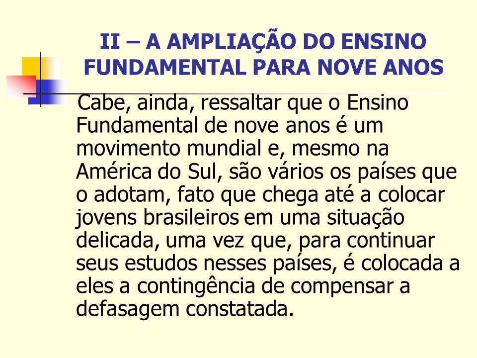 II – A AMPLIAÇÃO DO ENSINO FUNDAMENTAL PARA NOVE ANOS Cabe, ainda, ressaltar que o Ensino Fundamental de nove anos é um movimento mundial e, mesmo na