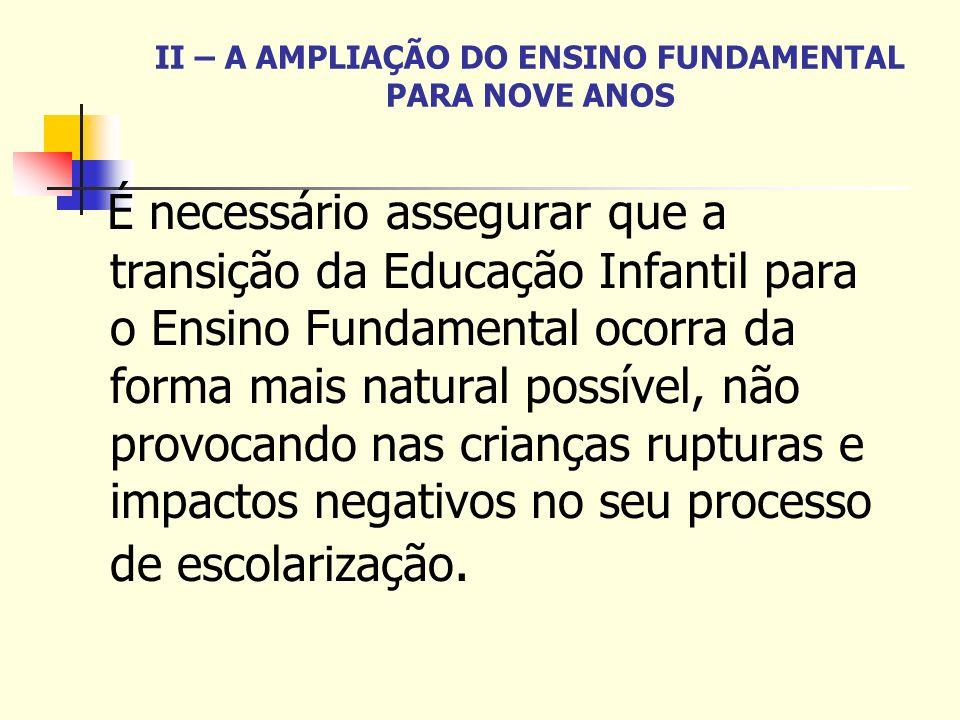 II – A AMPLIAÇÃO DO ENSINO FUNDAMENTAL PARA NOVE ANOS É necessário assegurar que a transição da Educação Infantil para o Ensino Fundamental ocorra da