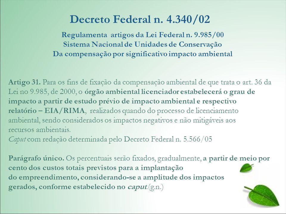 Decreto Federal n. 4.340/02 Regulamenta artigos da Lei Federal n. 9.985/00 Sistema Nacional de Unidades de Conservação Da compensação por significativ