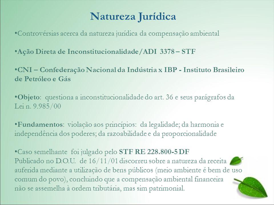 Natureza Jurídica Controvérsias acerca da natureza jurídica da compensação ambiental Ação Direta de Inconstitucionalidade/ADI 3378 – STF CNI – Confede