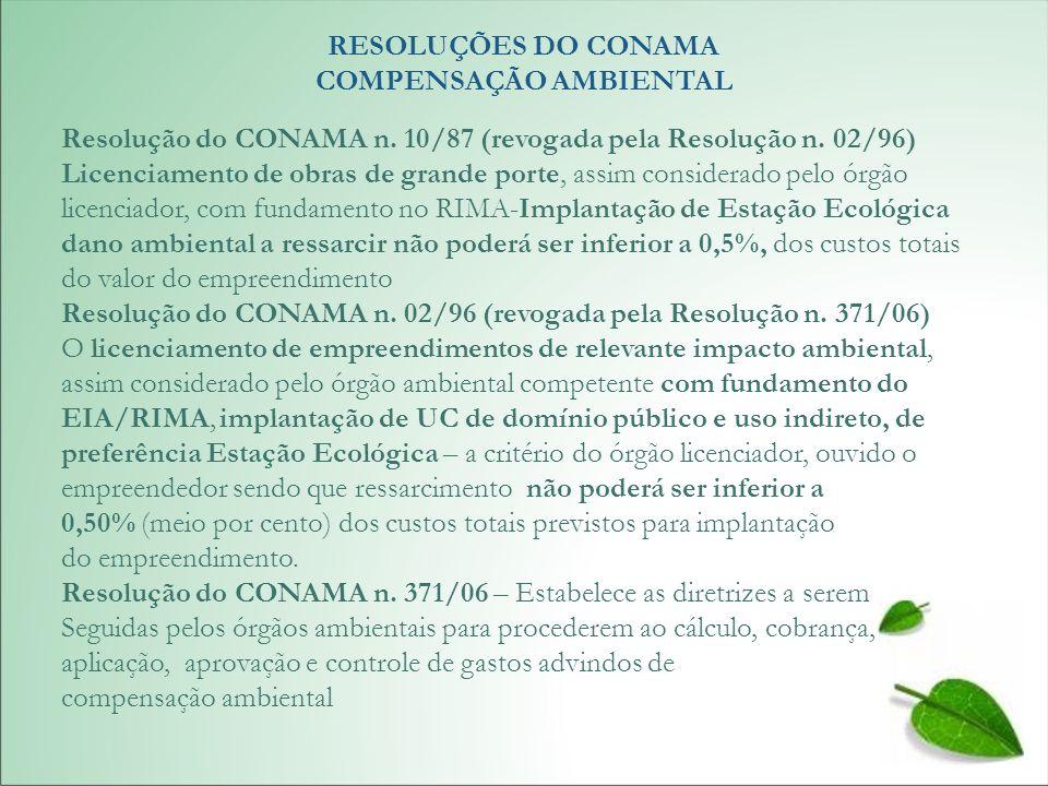 RESOLUÇÕES DO CONAMA COMPENSAÇÃO AMBIENTAL Resolução do CONAMA n. 10/87 (revogada pela Resolução n. 02/96) Licenciamento de obras de grande porte, ass