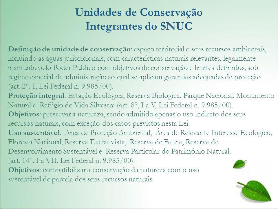Unidades de Conservação Integrantes do SNUC Definição de unidade de conservação: espaço territorial e seus recursos ambientais, incluindo as águas jur
