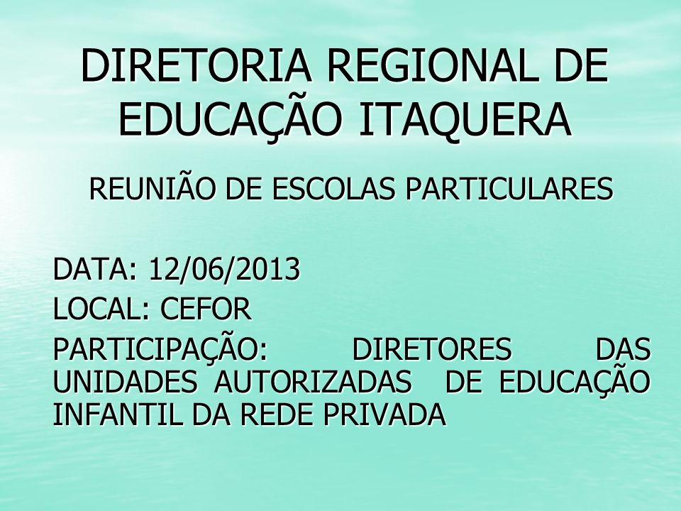 DIRETORIA REGIONAL DE EDUCAÇÃO ITAQUERA REUNIÃO DE ESCOLAS PARTICULARES DATA: 12/06/2013 LOCAL: CEFOR PARTICIPAÇÃO: DIRETORES DAS UNIDADES AUTORIZADAS