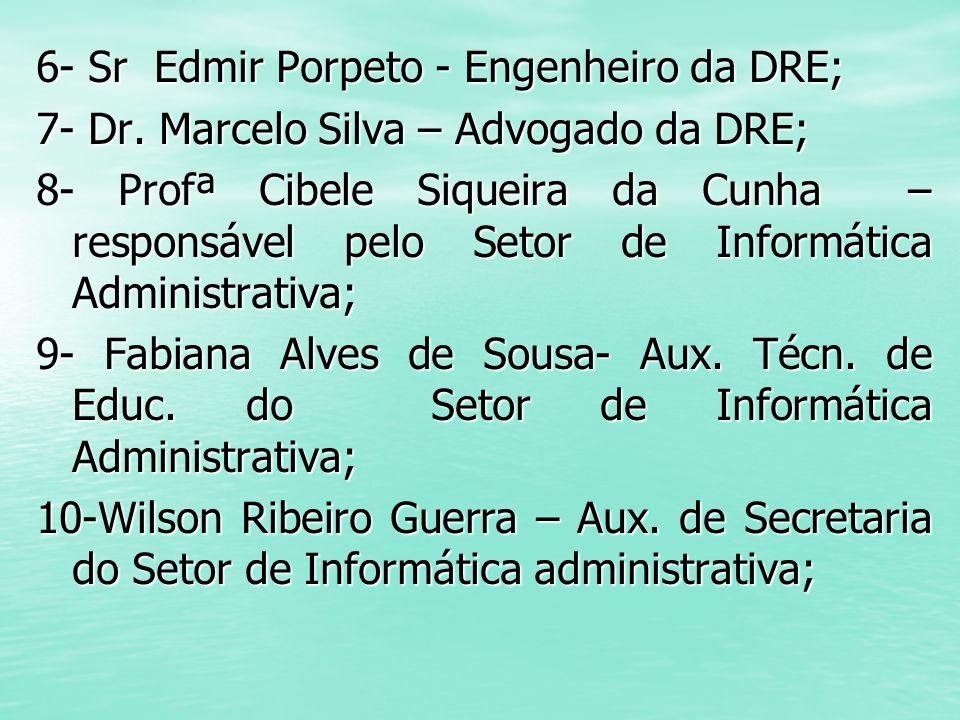6- Sr Edmir Porpeto - Engenheiro da DRE; 7- Dr. Marcelo Silva – Advogado da DRE; 8- Profª Cibele Siqueira da Cunha – responsável pelo Setor de Informá