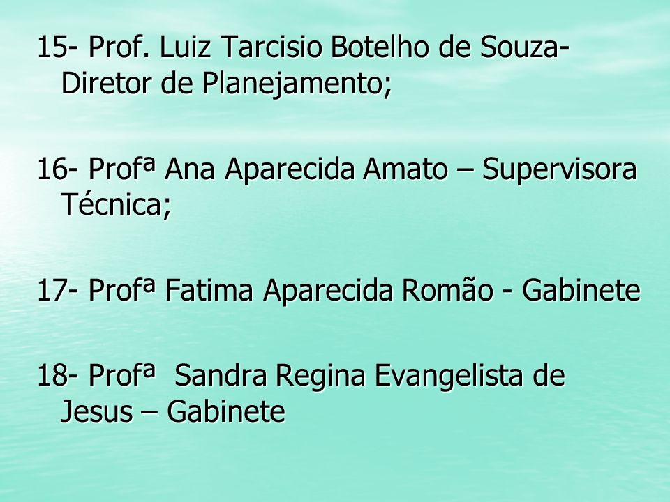 15- Prof. Luiz Tarcisio Botelho de Souza- Diretor de Planejamento; 16- Profª Ana Aparecida Amato – Supervisora Técnica; 17- Profª Fatima Aparecida Rom