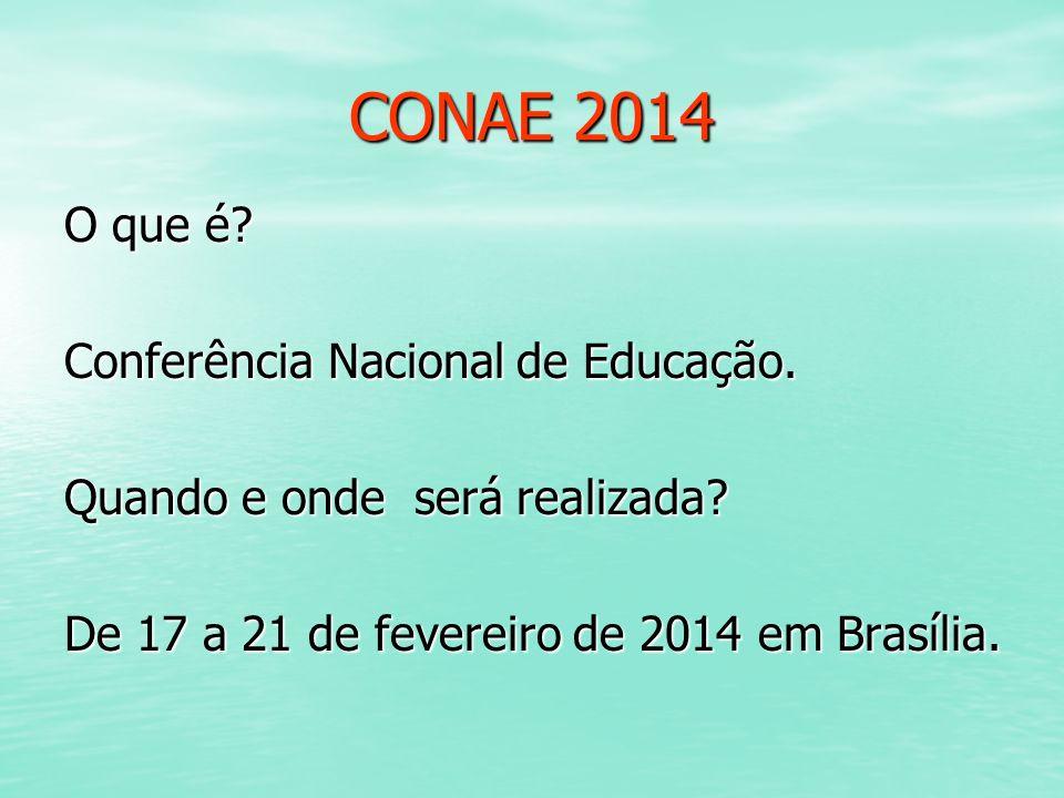CONAE 2014 O que é? Conferência Nacional de Educação. Quando e onde será realizada? De 17 a 21 de fevereiro de 2014 em Brasília.